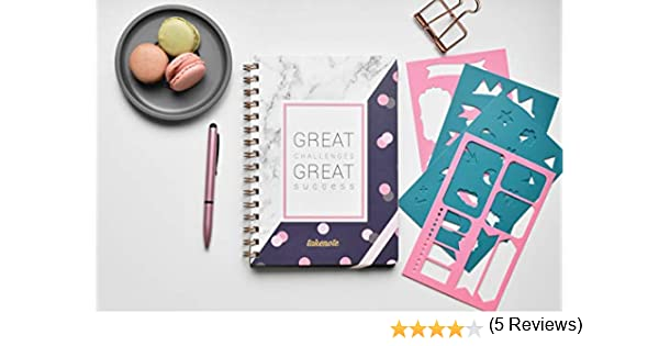 Cuaderno Punteados con Wire-o - Takenote A5 Cuaderno de Tapa Dura - Pack de Plantillas Incluido - Papel Grueso (Success): Amazon.es: Oficina y papelería