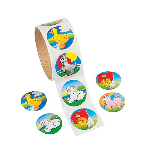 Fun Express - Farm Animal Stickers (100 Pc) - Stationery - Stickers - Stickers - Roll - 1 Piece