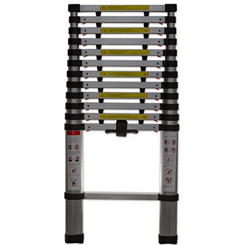 OxGord Aluminum Telescopic 12.5 FT Heavy Duty Extendable Work Ladder Light Weight Multi-Purpose - 250 LB Capacity