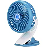 AMA(TM) Portable Hand Held Mini Desk Fan USB or Battery Operated Clip Fan Air Conditioner Cooler 18650 Battery (Blue)