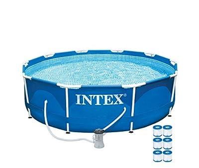 "Intex 10' x 30"" Metal Frame Set Swimming Pool with 330 GPH Pump & 6 Pack Filters"