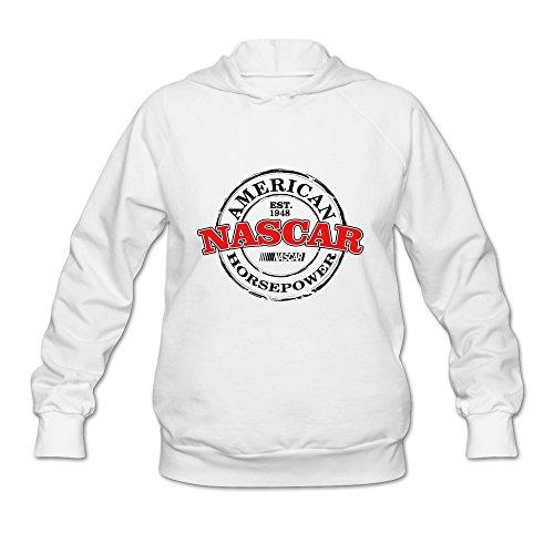 Women's NASCAR Symbol Logo Hooded Sweatshirt Size L White (Trampoline Playstation)