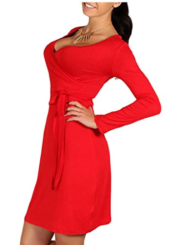 ainr Womens Sexy Long-sleeved Warp High-Waist Mini Party Dress