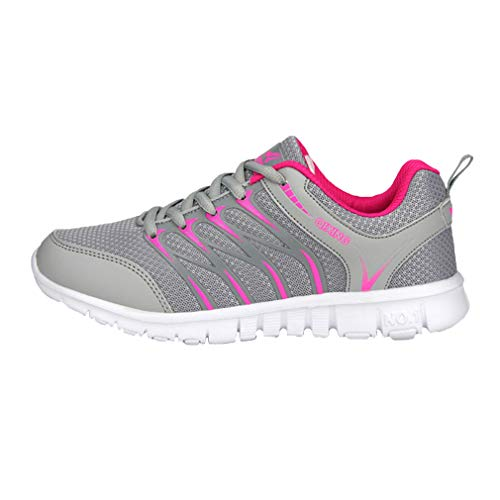 Mujeres Zapatillas Casuales Deportivos Moda Hombres Zapatos Al Running Ligero Deportes Zapatillas Aire Unisex de Sneakers Gris Libre Respirable q00wxgU