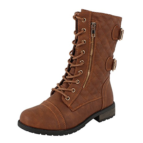 West Blvd Sydneyv2.0 Lace Up Boots (7.5 M, Tan Quilted)
