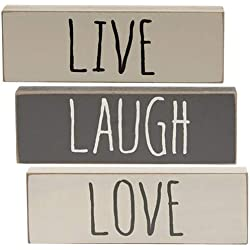Hearthside 'Live Laugh Love' Set of 3 Inspirational Wood Block Signs