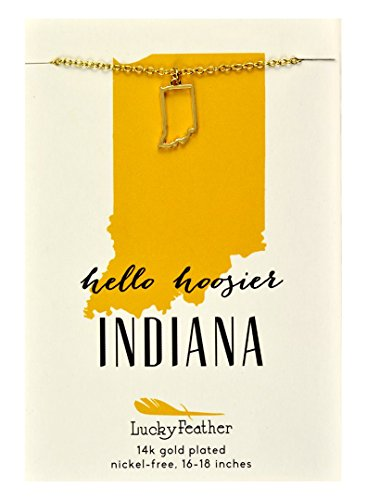 Lucky Feather Indiana Shaped State Necklace, 14K Gold-Dipped Pendant on Adjustable 16
