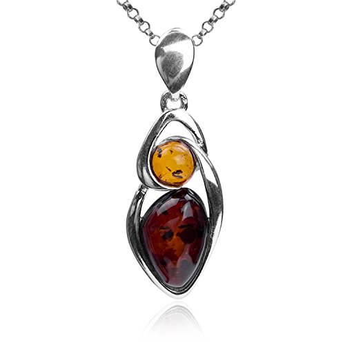 Gopher Jewelry Pendant (Multicolor Amber Sterling Silver Oval Pendant Necklace Chain 18