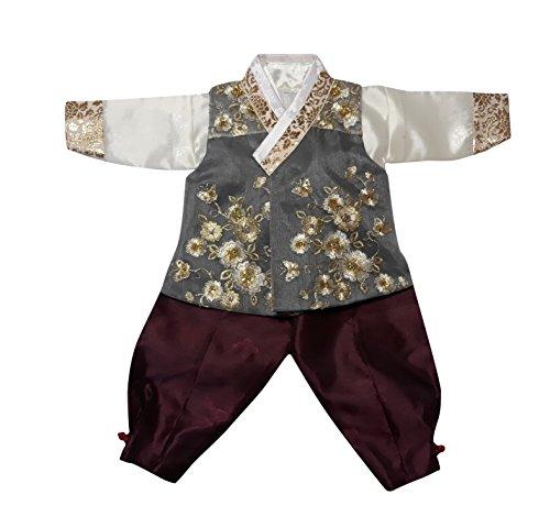 Hanbok Korea Traditional Costumes Boys Babies Kids Party Birthday Ceremony DOLBOK ba109boy (1 age) by Hanbok store