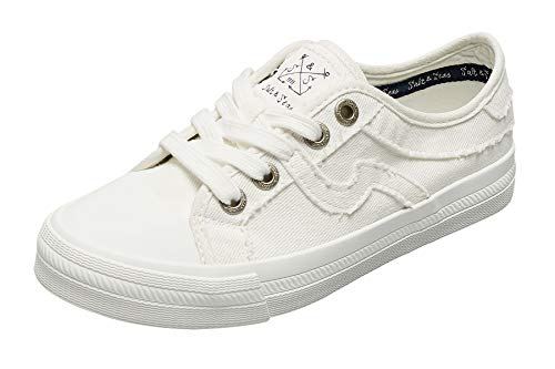 SALT&SEAS Women Adults Canvas Fashion Sneakers Low Top Lace Up Lightweight Flat Breathable Casual Shoes White, 10 Medium Women
