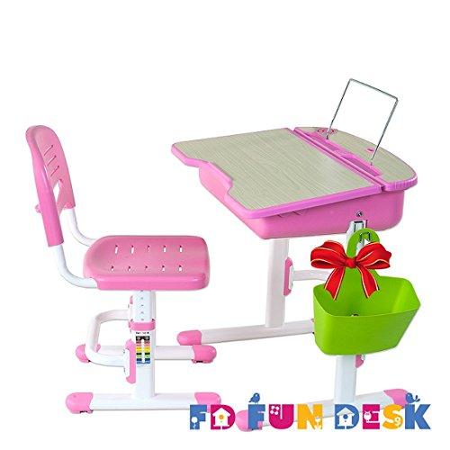 FD FUN DESK Height Adjustable Children Desk & Chair Set, Kids Workstation for School, Kids Study Table in CAPRI (PINK)+1 Basket Gift by Fun Desk