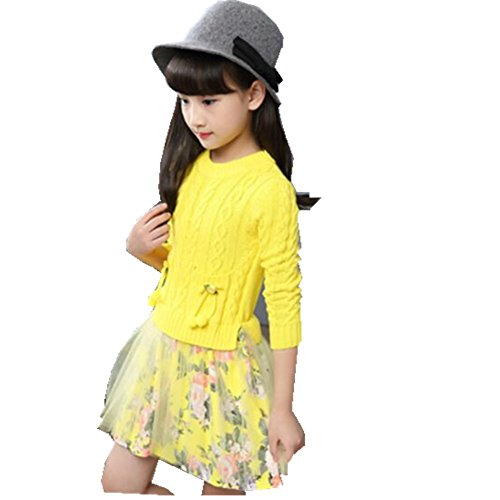 [FTSUCQ Girls Crew Neck Floral Sweater Princess Dress,Yellow 140] (Hottest 12 Year Old Girls)
