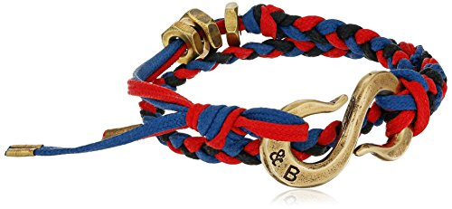 Giles and Brother Braided 'S' Hook Red/Blue Cotton Classic Brass Wrap Bracelet, 15.5'