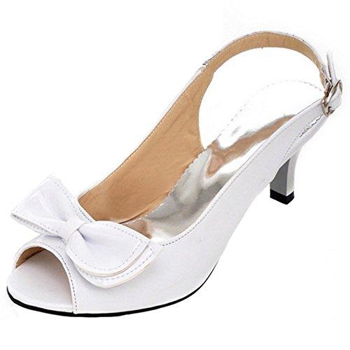 FANIMILA Mujer Moda Peep Toe Tacon medio Delgado Sandalias Dulce Bowtie Slingback Zapatos Blanco