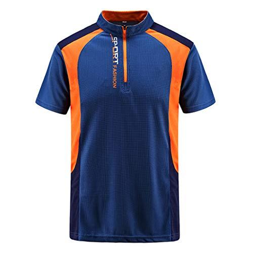 iHPH7 Polo Shirt Men Regular-Fit Quick-Dry Golf Polo Shirt Mens Summer Casual Zipper T-Shirt Plus Size Sport Fast-Dry Breathable Top Blouse XXXXXXL Dark Blue -