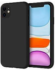 JETech Silikonskal Kompatibelt med iPhone 11 (2019) 6,1 Tums, Silkesmjuk Beröringsskydd med Hela Kroppen, Stötsäkert Skal med Mikrofiberfoder (Svart)