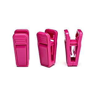 HOUSE DAY Hot Pink Plastic Finger Clips for Hangers, 100 Pack Pants Hanger Clips, Strong Pinch Grip Clips for Use with Slim-line Clothes Hangers, Clips for Velvet Hangers