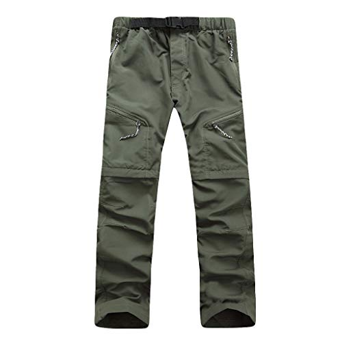 (Seaintheson Mens Hiking Pants, Quick Dry Convertible Lightweight Trousers Travel Mountain Cargo Pants Casual Sweatpants Army)