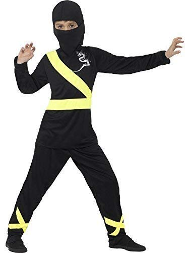 Boys Yellow Black Ninja Assassin World Book Day Japanese Warrior Fighter Around The World Halloween Fancy Dress Costume 4-12 Yrs (10-12 Years) -