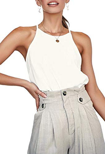- LouKeith Womens Tops Sleeveless Halter Racerback Summer Casual Shirts Basic Tee Shirts Cami Tank Tops Beach Blouses Ivory White L