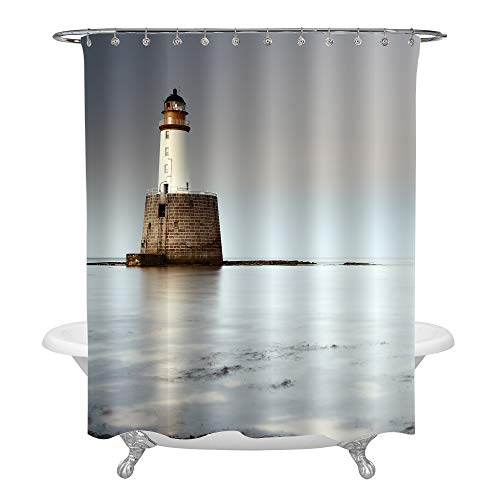 Photo Guide Ring Set - MitoVilla Rattray Head Lighthouse on The European Coast Shower Curtain Set Rings, Scotland Landmark Apartment Decor, Calm Sea Scenery Photo, Vacation Gifts, Multicolor, 72