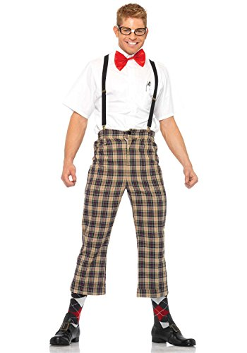 Leg Avenue Men's 4 Piece Nerdy Ned Costume, Brown, Small