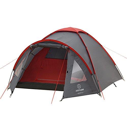 JUSTCAMP Campingzelt Scott 4, mit Vorraum; Iglu-Zelt für 4 Personen (doppelwandig) – grau