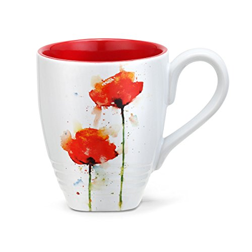 DEAN CROUSER RED POPPY FLOWER 16 OZ COFFEE MUG The vibrant watercolor paintings of Oregon wildlife artist Dean Crouser bring exquisite beauty to this collection of table top stoneware. Coordinating mugs and snack plates feature nature's mighty wildlife in life-like, energetic form.