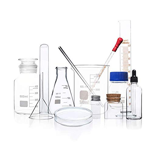 Laboratory Flasks Glassware - Laboratory Glassware Set, Full Set Of Chemical Equipment Beaker Test Tube Cone Alcohol Lamp Dropper Flask Glass Supplies