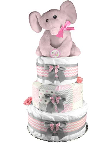 Elephant 3-Tier Diaper Cake - Baby Shower Gift - Pink and Gray from Sunshine Diaper Cakes