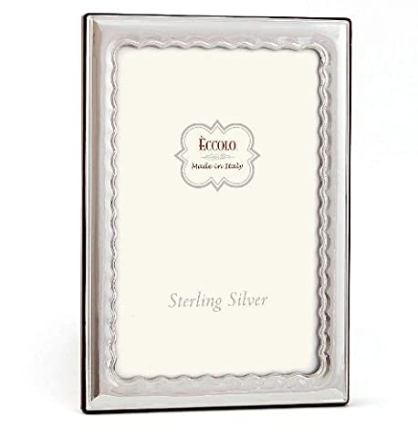 Eccolo Made In Italy Sterling Silver Frame, Wavy, Holds a 4 x 6-Inch Photo - Tarnish Proof