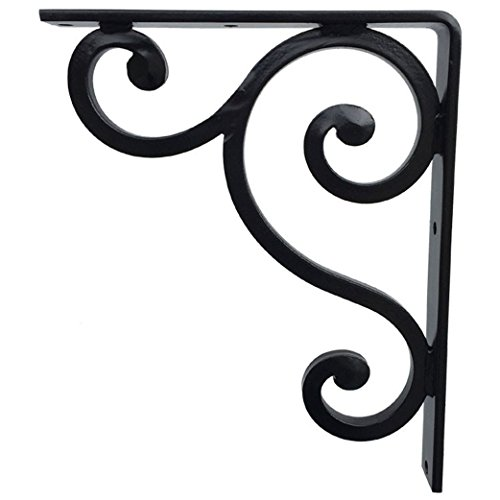 Cast Marble Mantel Fireplace (Wrought Iron Decorative Metal Bracket for Granite Countertop or Shelf Support - 9x11 inch Classic Black Finish Hand Forged for Kitchen Interior Exterior Home Decor Heavy Duty Quality Guarantee)