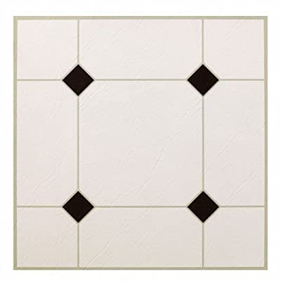 MAX KD0309 5Th Avenue Black & White Peel & Stick Vinyl Floor Tile, 12 x 12""