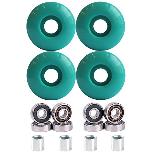 Rollcub Skateboard Wheels 52mm 102A with Bearings, for Freestyle Park, Technical Sliding and Dancing(Set of 4), Teal