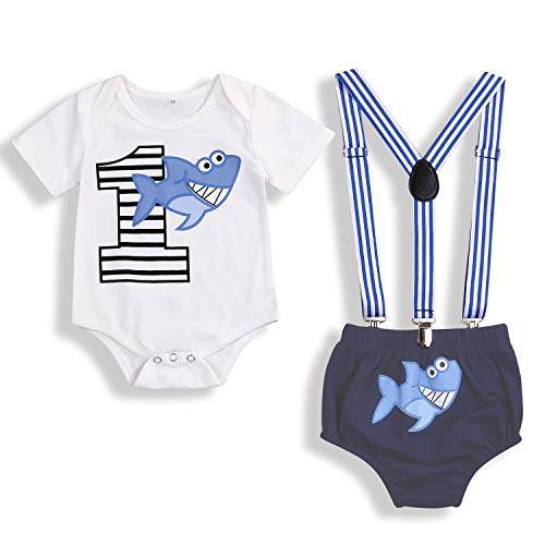 Baby Birthday Shark Clothes Baby Boy Girl Short Sleeve Bodysuit and Cake Smash Outfits (Blue, 9-15 Months)