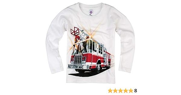 Applique Firetruck Boys White Knit Long Sleeve Tee Shirt