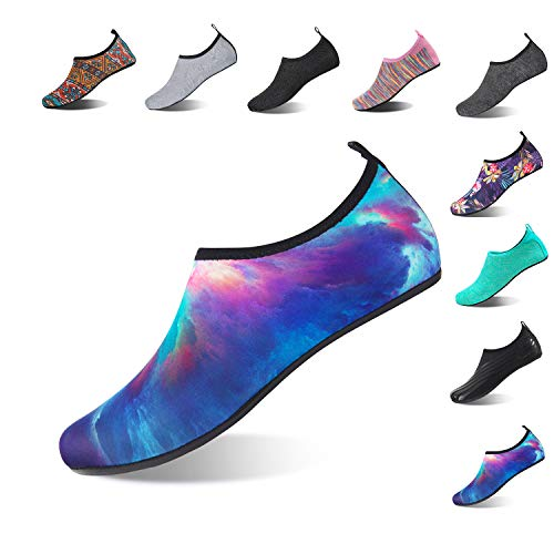 (Aqua Socks Beach Water Shoes Barefoot Yoga Socks Quick-Dry Surf Swim Shoes for Women Men (Aurora, 38/39EU))
