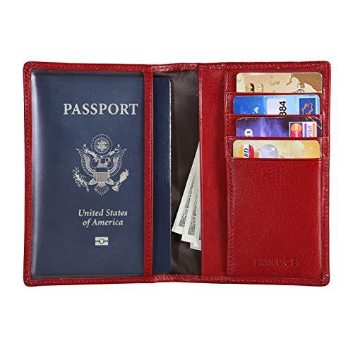 Marrone Vintage d'identità copertina scuro viaggio unica Taglia Portafoglio pelle Porta Carta da in Banuce Unisex passaporto 7wvq55