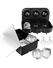 Simpeak Ice Cube Tray [2 Packs], Silicone Ice Cube Maker 6-Ice Round + 6-Ice Square Molds with Funnel