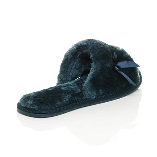 Ajvani Womens Ladies Flat peep Toe Bow Luxury Cosy Faux Sheepskin Fur Slip on Slippers Size Navy UiQjt