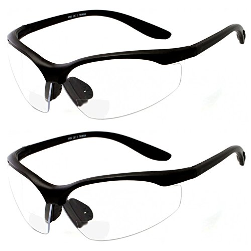 2 Pairs Bifocal Safety Glasses Clear Lens with Reading Corner - Non-Slip Rubber Grip - Safety Glasses Bifocal