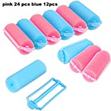 36 Pieces Foam Sponge Hair Rollers Flexible Hair Styling Curlers Sponge Curlers for Hair Styling (Pink and Blue)