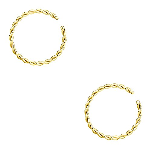 Forbidden Body Jewelry Set of 18g 8mm (5/16 Inch) Gold IP Plated Surgical Steel Braided Hoop Rings