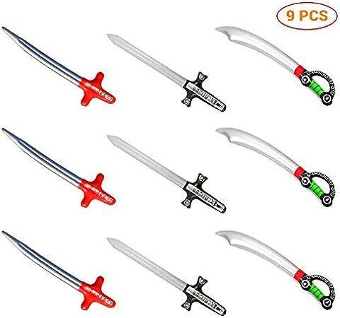 Neborn 9 Unids Inflable Pirata Juguetes Accesorios de Espada PVC Inflado Niños Cosplay Juguetes Calientes Juegos de Diversión Al Aire Libre Jugar Favores de Fiesta de Cumpleaños