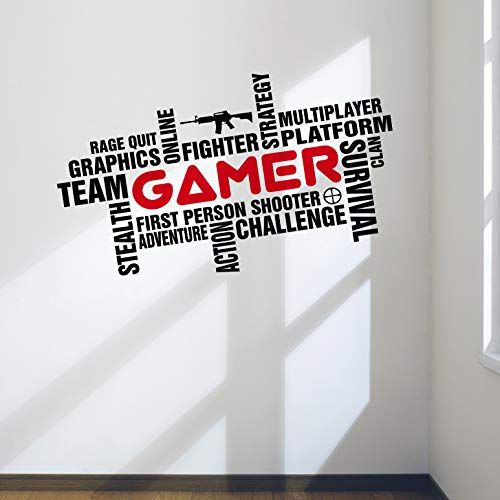 DesignDivil Awesome Pro Gamer Wall Art Word Cloud Decal for Games Room Bedroom Man Cave. (XLarge:39″x22″ (100x57cm))