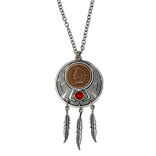 Indian Cent Carnelian Dream Catcher Coin Pendant