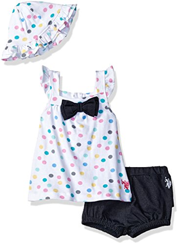 U.S. Polo Assn. Baby Girls Fashion Top, Short and Accessory Set, Tank Cap dots White, 6-9 ()