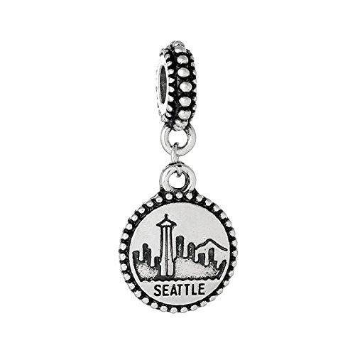 (SEXY SPARKLES State Charm Bead Spacer Compatible for Most European Snake Chain Bracelets (Seattle Washington Charm))