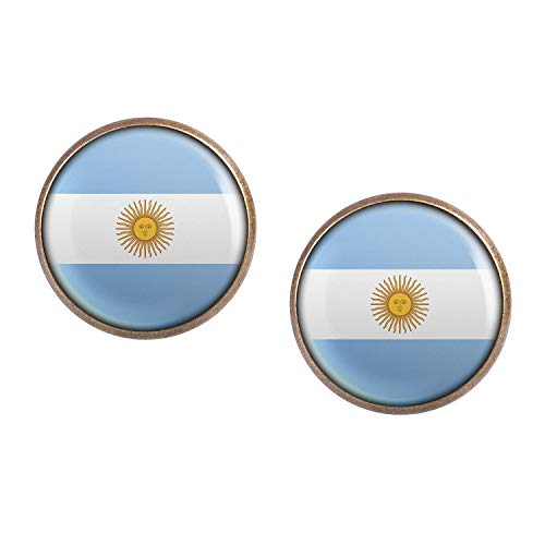Stud Earring Pair with Cabochon Picture Argentina Argentina Buenos Aires flag bronze 0.63 inch (Best Value Malbec Argentina)