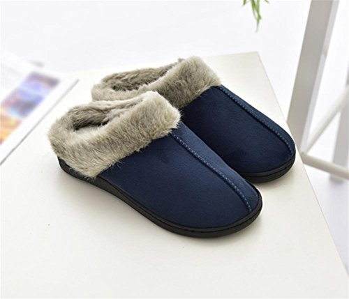 W& XYmale Winter Slippers Home Floor Soft Cotton-padded Velvet Anti-slip Shock Absorption Bedroom Slippers With Rubber Sole, 45